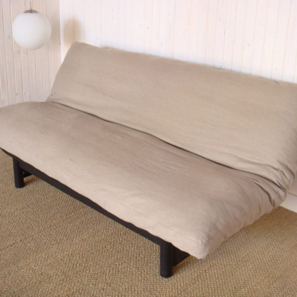 Wool-Filled Futon with Flax Linen Zippered Cover