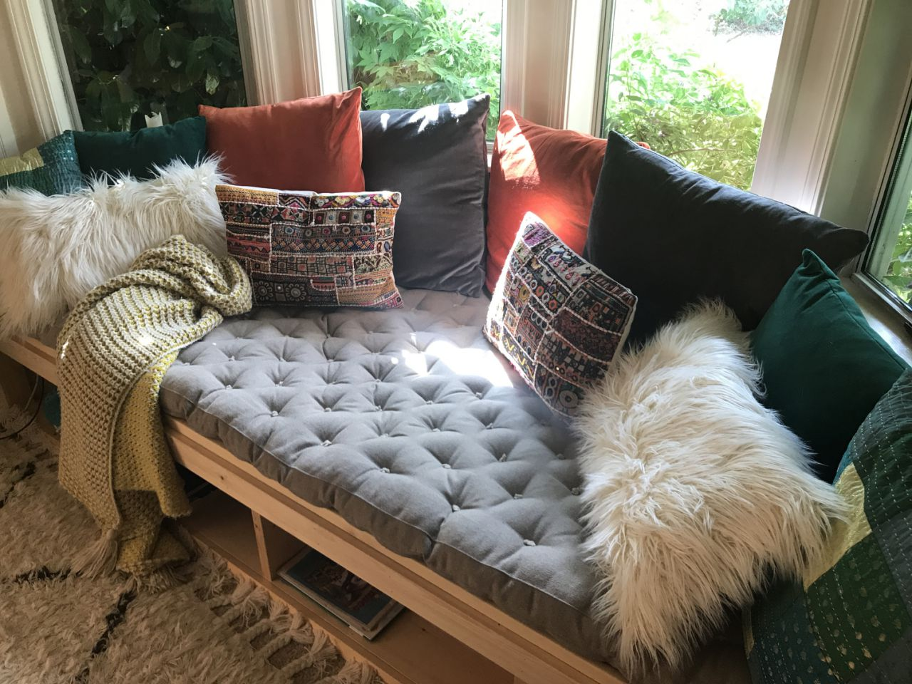 tufted daybed from dyed cotton in gray custom for Faith Haney