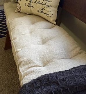 tufted wool-filled bench cushion