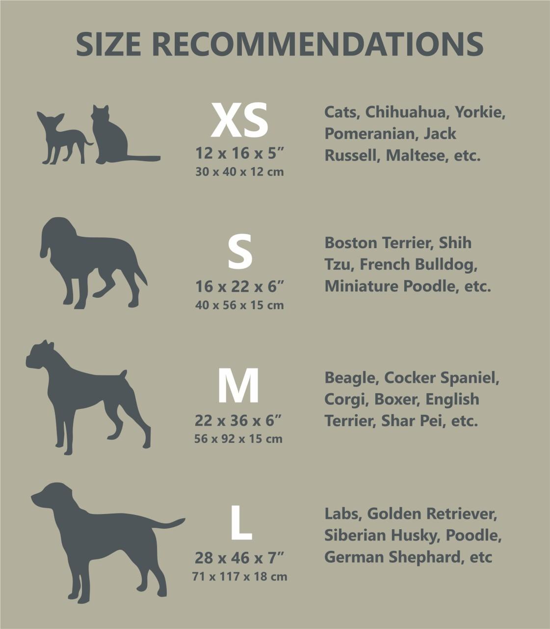 pet bed chart
