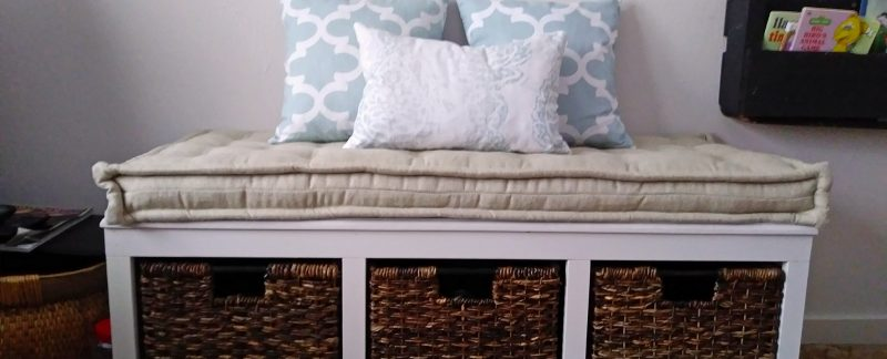 customer image bench cushion cotton and linen blend with piped edges