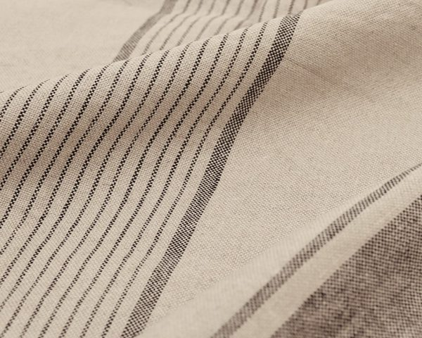 Home of Wool linen fabric with 3 black stripes