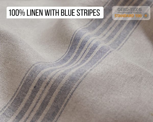 100% Linen fabric with blue stripes