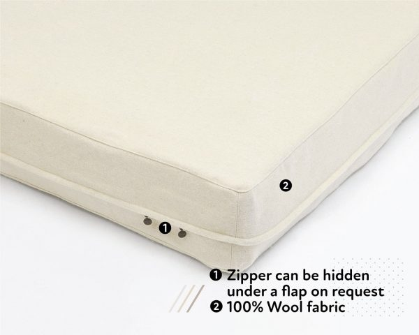 Home of Wool Natural Zip-off cover for mattresses and cushions - zipper detail
