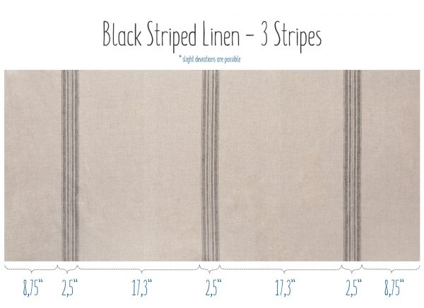Natural linen fabric with black stripes - 3 stripes