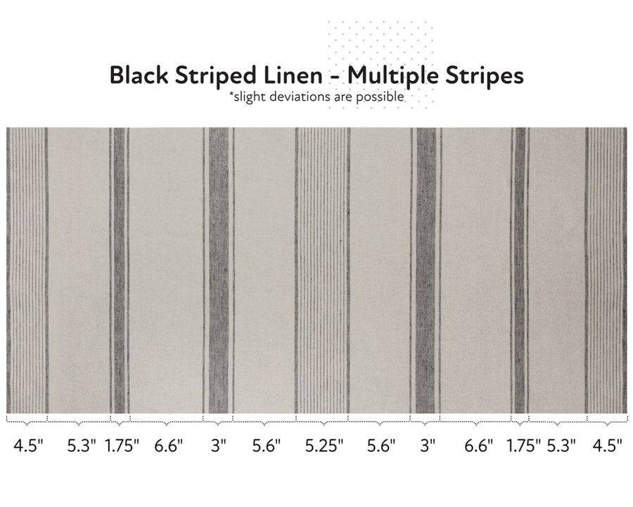 Natural linen fabric with black stripes - multiple