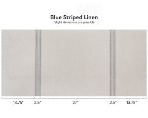 Natural linen fabric with blue stripes