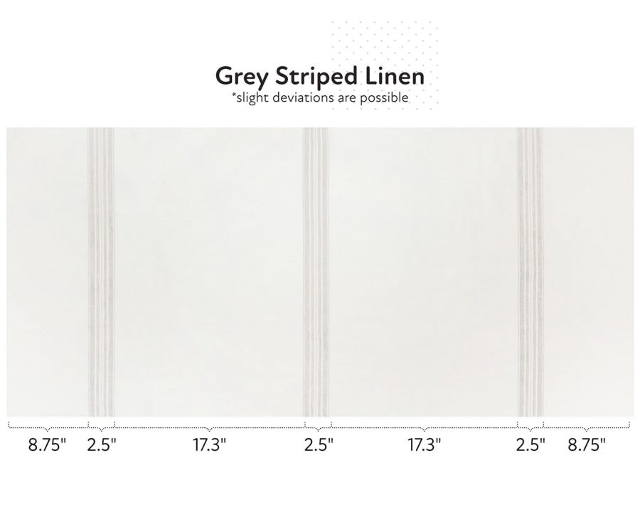Natural linen fabric with grey stripes