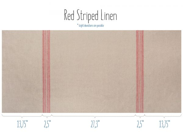 Natural linen fabric with red stripes