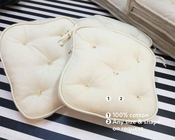 Natural tufted wool-filled chair cushions