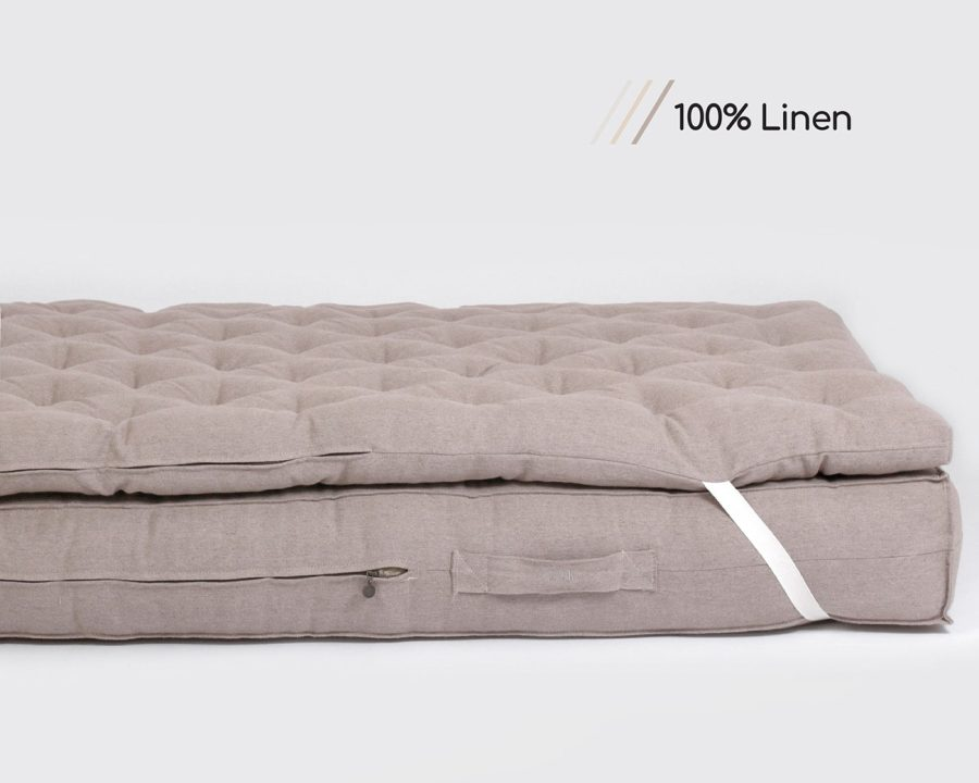 Home of Wool Wool Mattress Topper with linen cover fabric