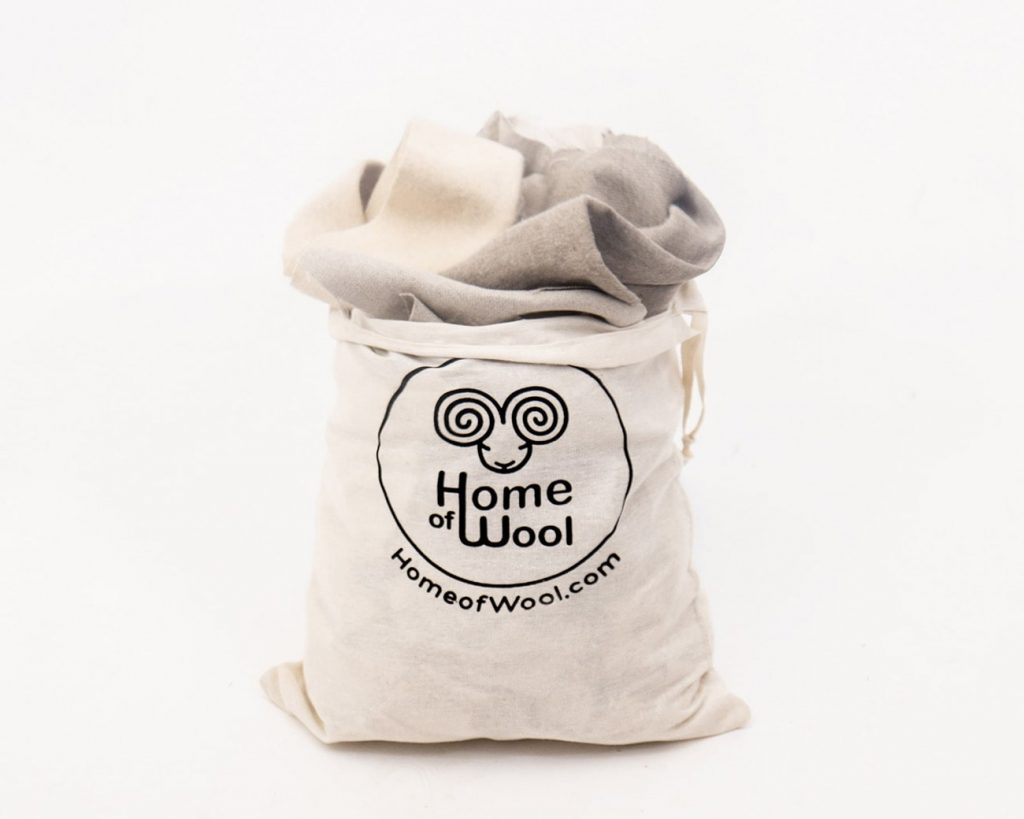 Home of Wool bag of fabric scraps - wool, linen, silk and cotton