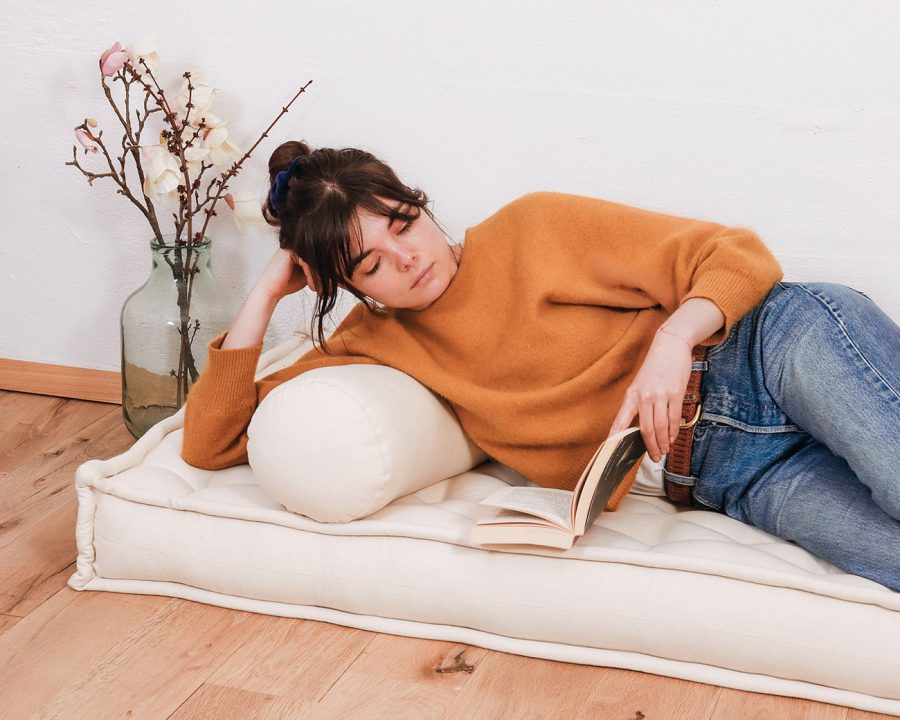 Home of Wool bolster cushion in setting