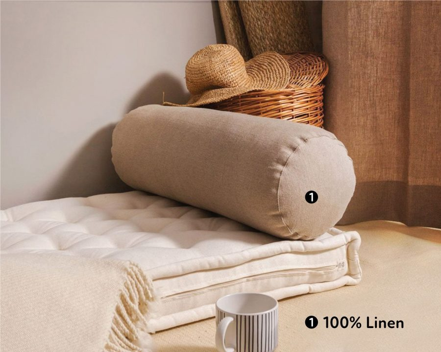 Home of Wool handmade wool bolster cushion with linen cover