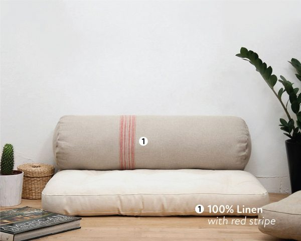 Home of Wool handmade wool bolster cushion with red striped linen cover