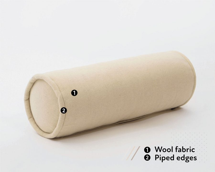 Home of Wool handmade wool bolster cushion with wool cover and piped edges