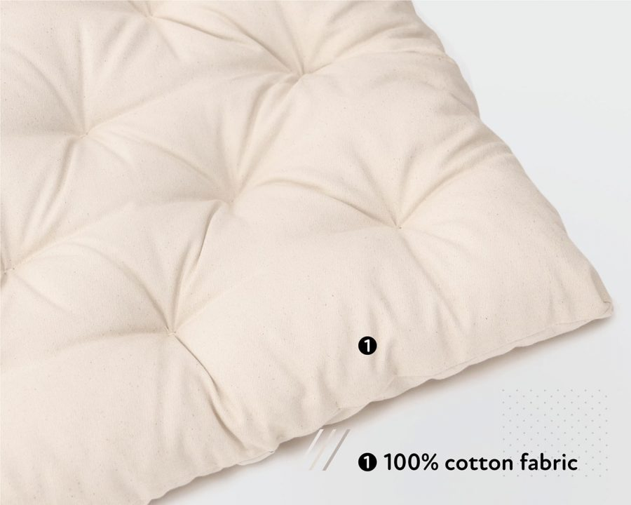 Home of Wool handmade wool mattress topper - 100% Cotton fabric
