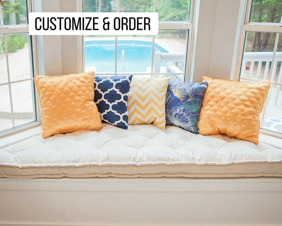 home of wool custom bay window bench cushion colored pillows customer