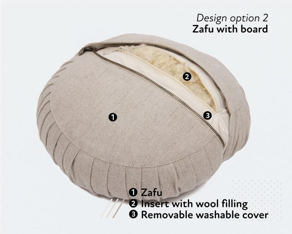 Home of Wool zafu yoga meditation cushion with natural wool filling - open