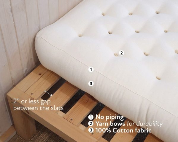 Home of Wool natural non-toxic wool-filled mattress on slatted frame with instructions