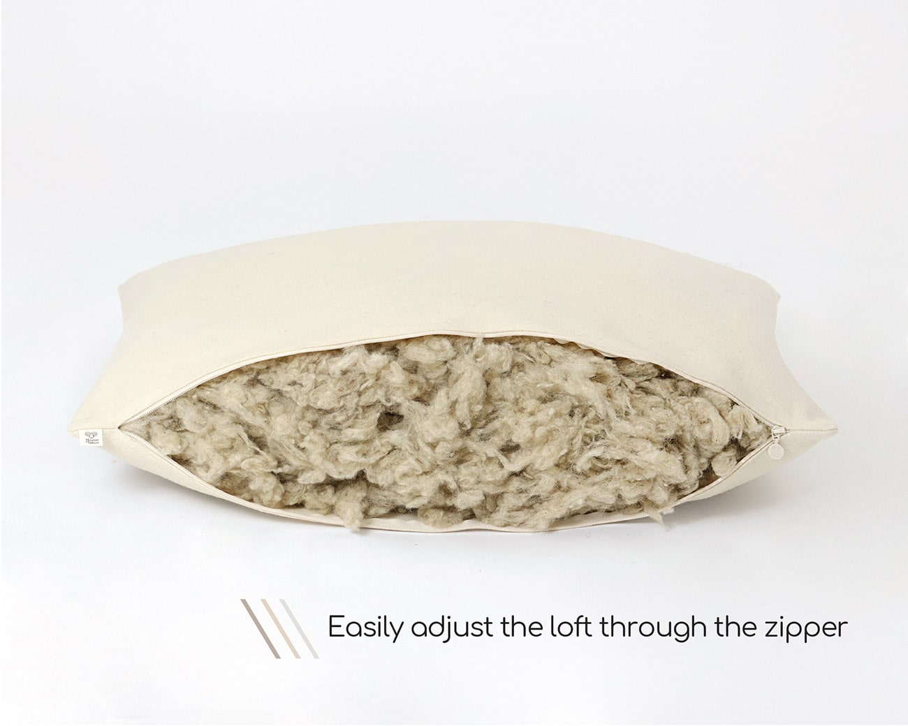 Home of Wool adjustable wool sleeping pillow with text