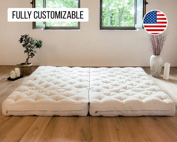 Home of Wool all wool mattress side by side king size with zipper
