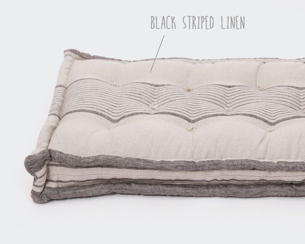 Home of Wool bench cushion - linen cover with black stripes