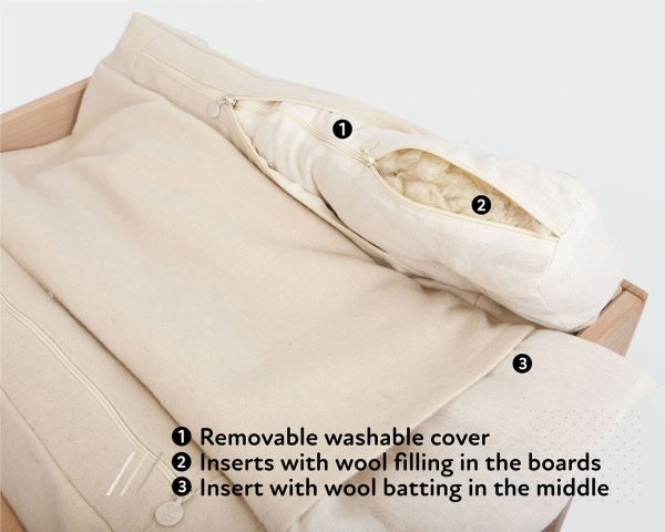 Home of Wool changing table - inner pillow and stuffing detail
