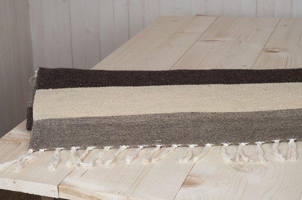 flatweave wool rug with natural stripes