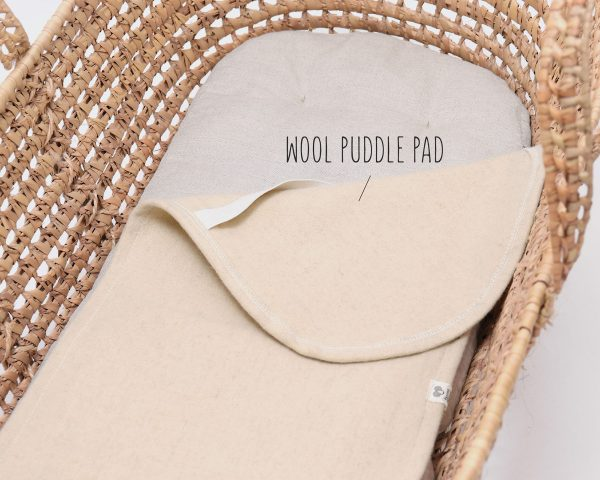 home of wool moses basket wool mattress puddle pad detail