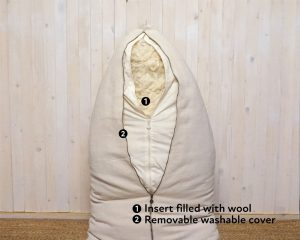 natural wool-filled bean bag chair with open zipper covers
