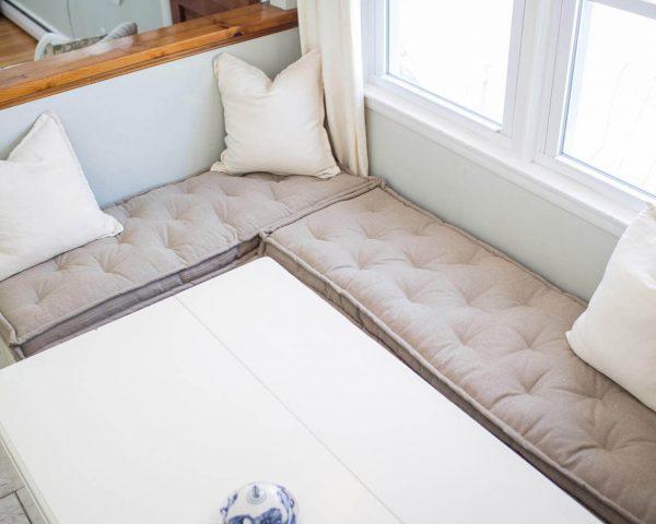 Home of Wool custom tufted bench cushion fits Ikea Kallax
