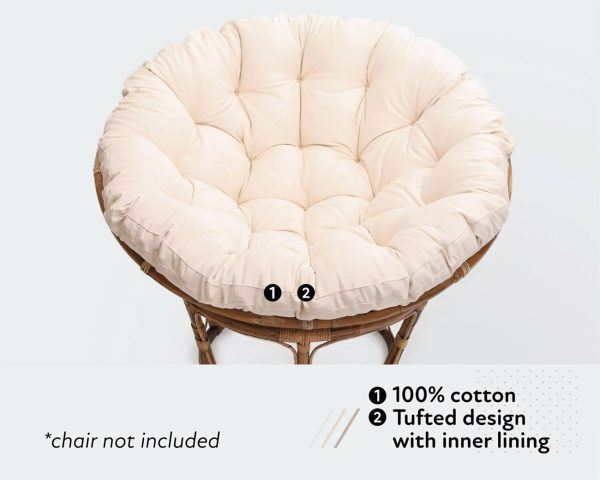 Home of Wool papasan chair cushion with cotton cover and tufted design