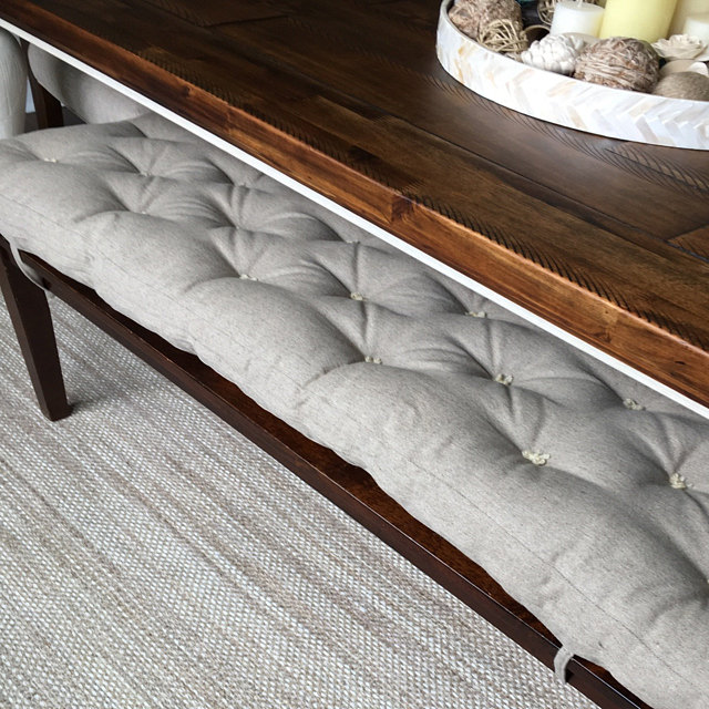 Wool Filled Tufted Bench Cushion With 100 Linen Cover Custom For Ashley Neronski Home Of