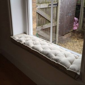 Home of Wool Wool-Filled Tufted Window Seat Cushion for Sarah