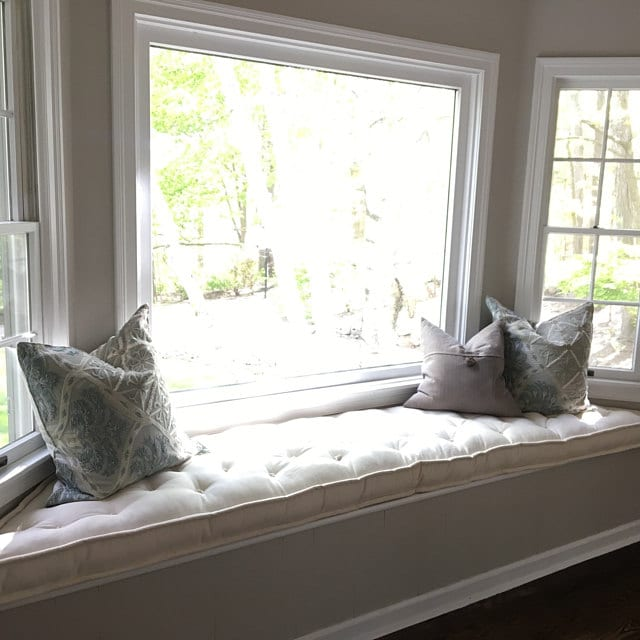 Trapezoid Tufted Wool Filled Window Seat Cushion Custom