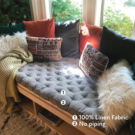 home of wool tufted-daybed-from-dyed-cotton-in-gray-custom-for-Faith-Haney
