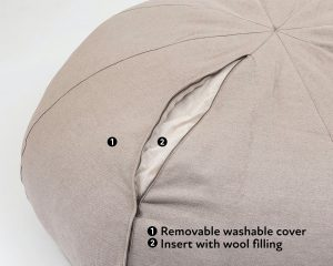 Home of Wool Natural Round Bean Bag Chair with Linen cover-inner cover detail