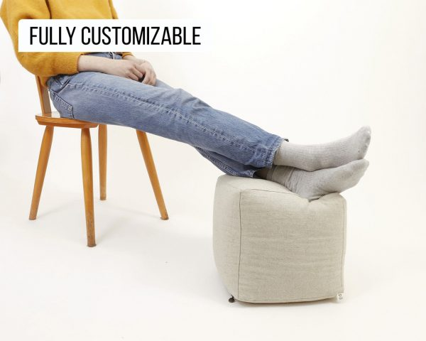 Home of Wool ottoman cube with model