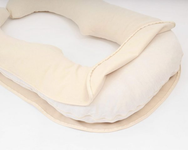 Home of Wool - U-shaped pregnancy pillow with natural wool stuffing stuffing - cover taken off