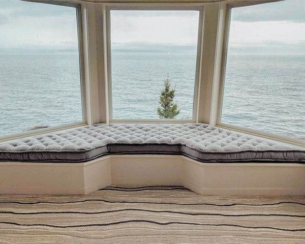 Home of Wool custom trapezoid grey bay window tufted cushion