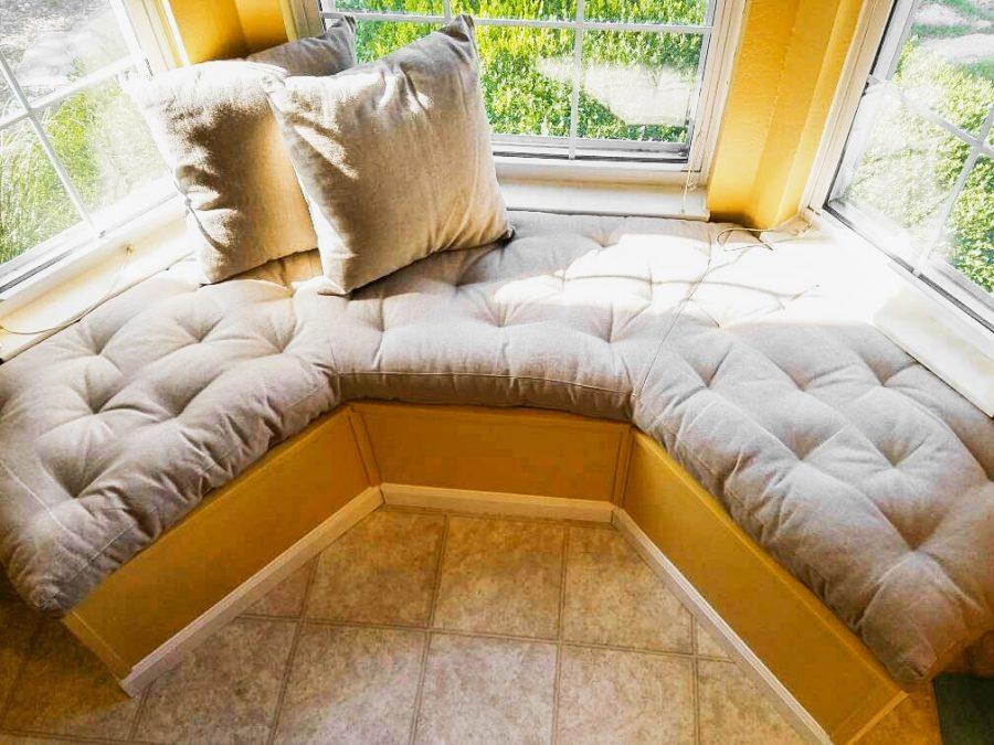 Home of Wool custom tufted bay window cushion