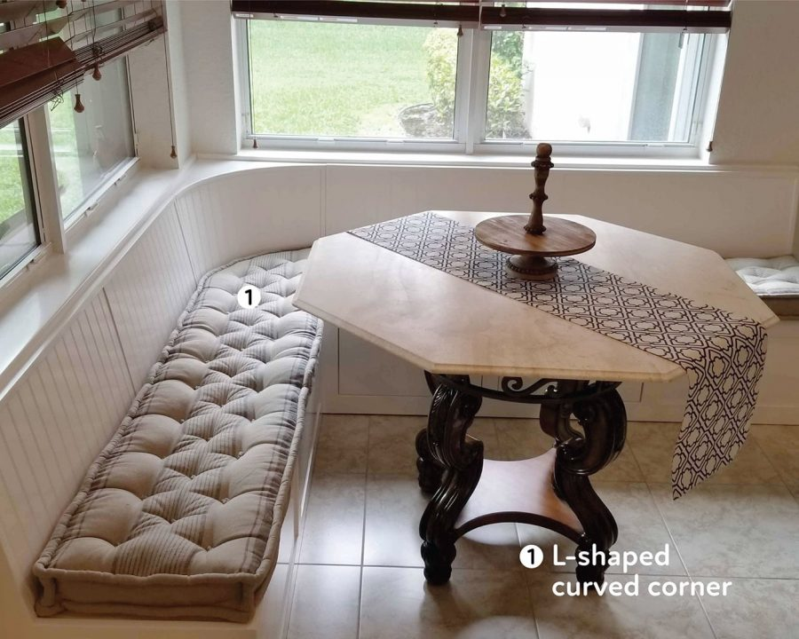 Home of Wool custom tufted cushions for a kitchen nook