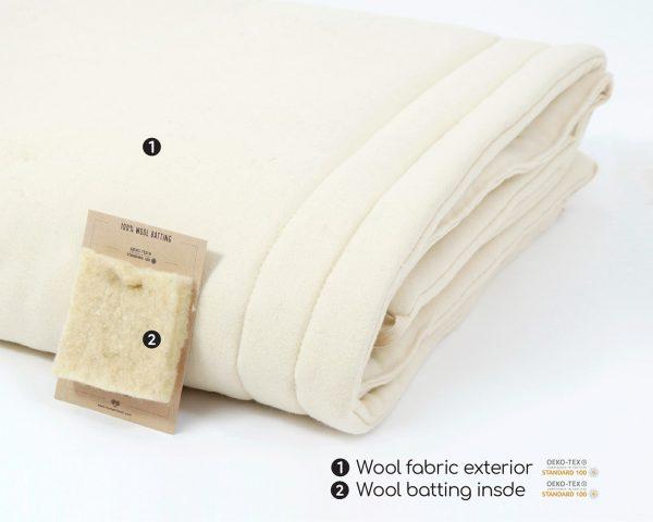 Home of Wool Natural Kids Duvet Insert -toddler comforter- certified wool batting
