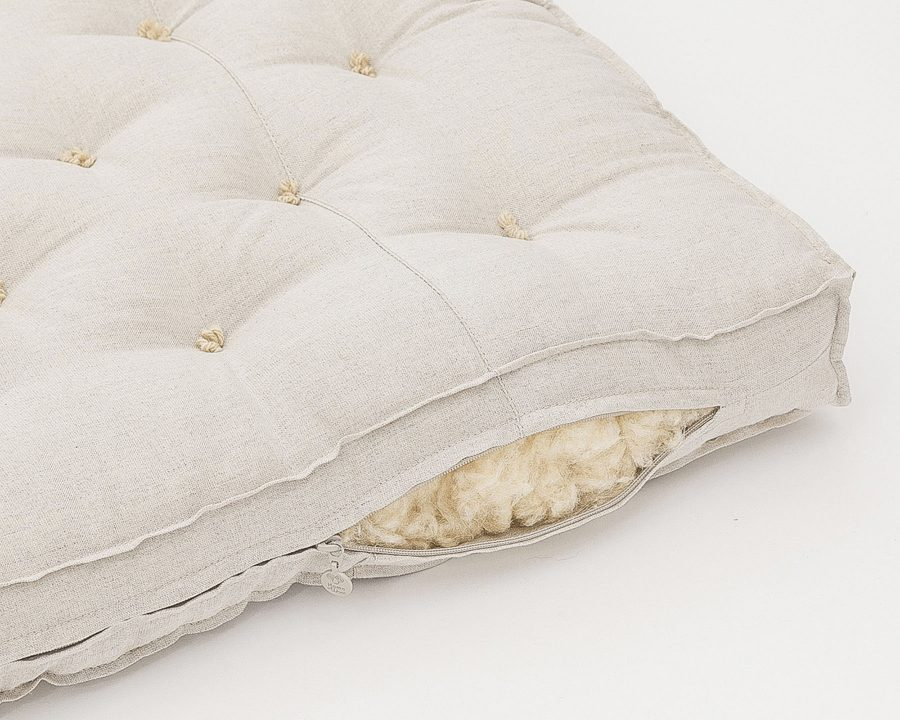 Home of Wool Wool-Filled Crib or Stokke Mattress With Stitched Fabric - wool stuffing detail