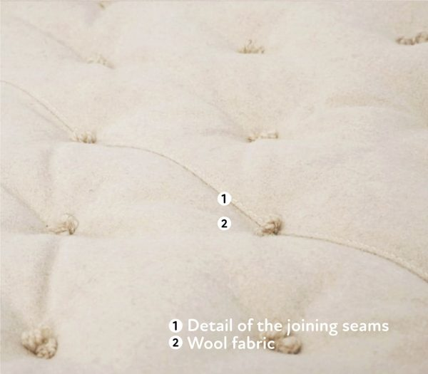home of wool crib mattress with connecting seams detail