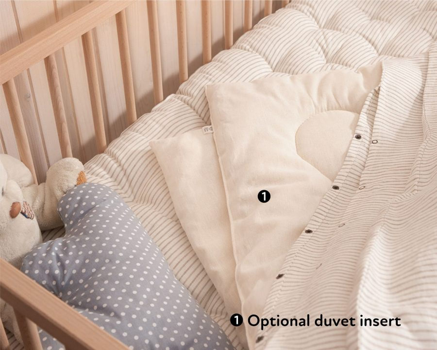 Natural Wool Kids Duvet Cover and Wool Duvet in a Crib