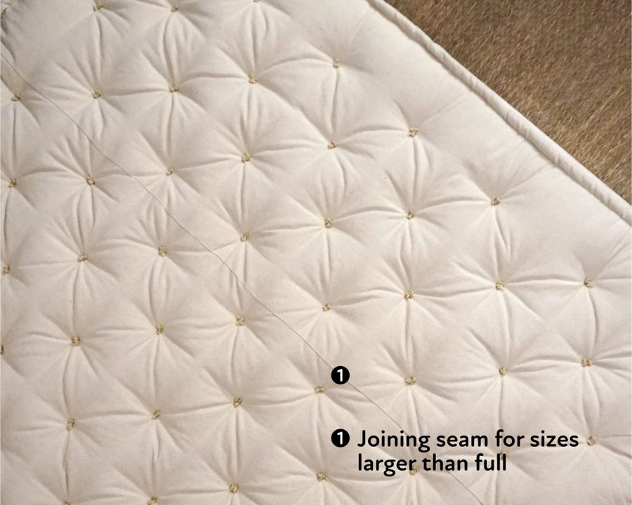 Home of Wool handmade wool mattress with joining seam