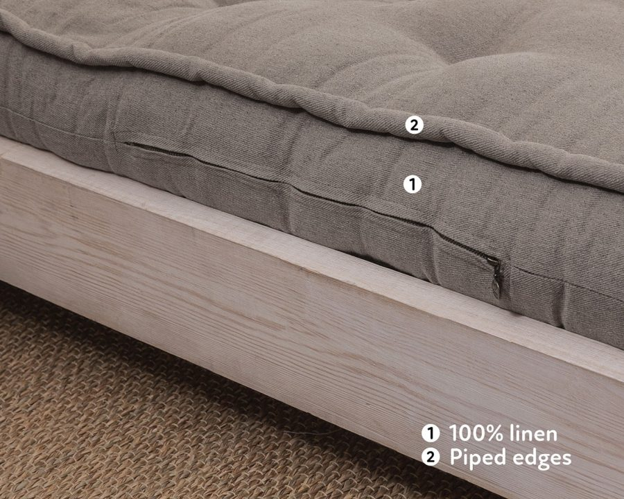 Home of Wool handmade wool mattress with linen cover and piped edges