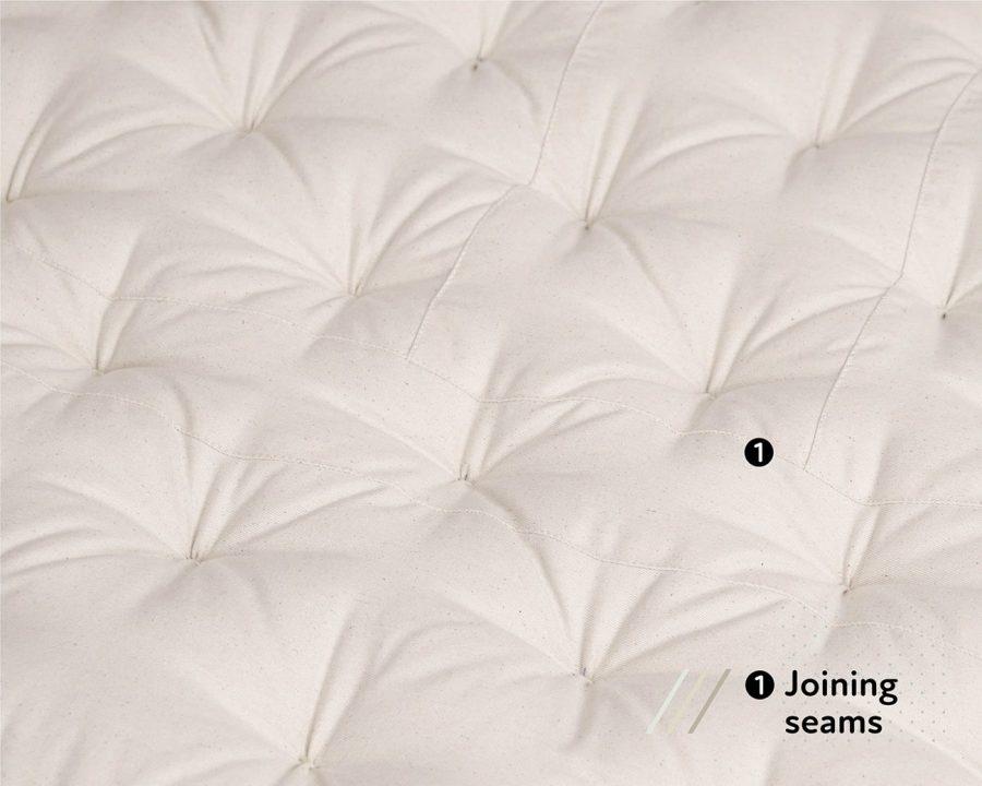 Home of Wool zero waste wool mattress - joining seams